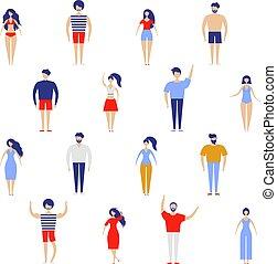 plat, différent, foule, gens, grand, set., isolé, marche, kit, arrière-plan., courant, vecteur, caractères, female., blanc mâle, gens.