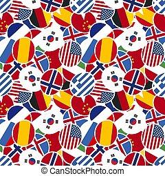 plat, différent, pays, modèle, seamless, style, conception, drapeaux, parole, bulles, coloré