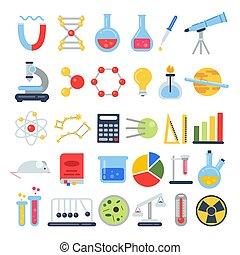 plat, différent, scientifique, science, set., equipment., style, laboratoire, vecteur, images, icône