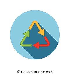 plat, différent, triangle, flèches, couleurs, icône