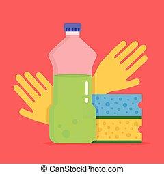 plat, dishwashing., dishwashing, bouteille, détergent, plastique, cuisine, vecteur, illustration, éponges, design., gloves., nettoyage