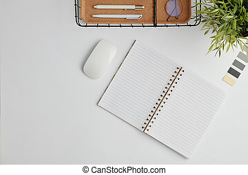 plat, disposition, cahier, fournitures bureau, souris, ouvert, autre, bureau, informatique