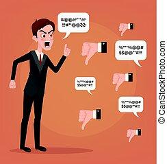 plat, disputer, réaction, employé bureau, mauvais, caractère, négatif, malheureux, triste, business, dislike., mascotte, vecteur, illustration, infructueux, comments., essayer, dessin animé, haters., homme