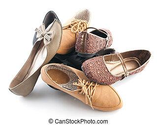 plat, divers, chaussures, femme, tas