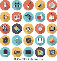 plat, divertissement, conception, loisir, icônes