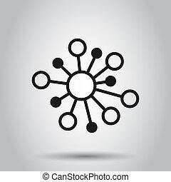 plat, dna, netwerk, hub, concept., molecule, vrijstaand, illustratie, meldingsbord, zakelijk, achtergrond., verbinding, vector, atoom, style., pictogram