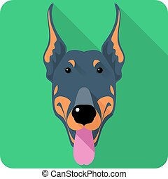 plat, doberman, dog, vector, ontwerp, pinscher, pictogram