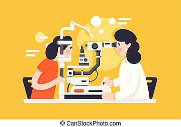 plat, docteur femme, monde médical, equipment., jeune, optométriste