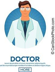 plat, docteur., vecteur, jeune, illustration.