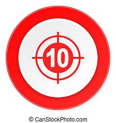plat, doel, moderne, ontwerp, achtergrond, cirkel, 3d, wit rood, pictogram