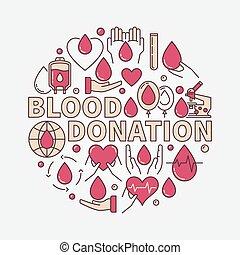 plat, donation, sanguine, illustration, rouges