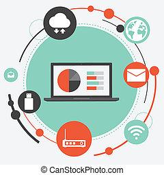 plat, draagbare computer, netwerk, illustratie
