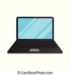 plat, draagbare computer, vrijstaand, illustratie, achtergrond, witte , pictogram