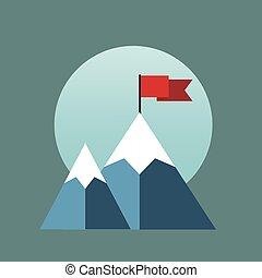 plat, drapeau, vecteur, mountain.