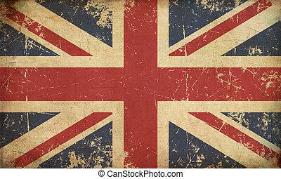 plat, drapeau, vieilli, royaume-uni
