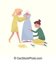 plat, dress., work., designer., beroep, meiden, twee, illustratie, jonge, vector, vrouwlijk, dressmakers, mode, naait
