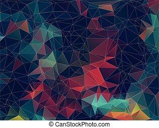 plat, driehoek, kleurrijke, shapes., pattern., achtergrond., retro, geometrisch, mozaïek