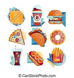 plat, drinks., vector, broodje, ongezonde , iconen, etenswaar voeding, koffie, dog, vasten, soda, warme, fries., tacos, franse , donut, pizza, hamburger