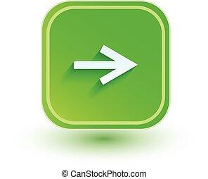 plat, droit, direction., flèche, icon., design.