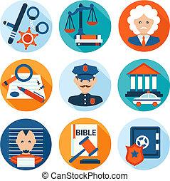 plat, droit & loi, icônes