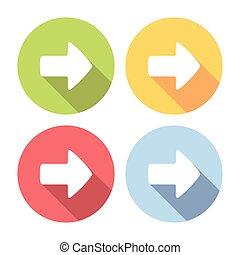 plat, droite direction, icônes, ensemble, en avant!