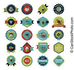 plat, e, chinees, set, spandoek, ontwerp, achtergrond, jaar, nieuw, badge