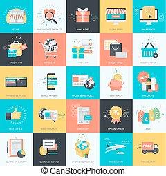 plat, e-handel, ontwerp, iconen