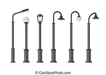 plat, eclairage rues, icônes