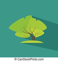 plat, eco, arbre, vecteur, vert, icône