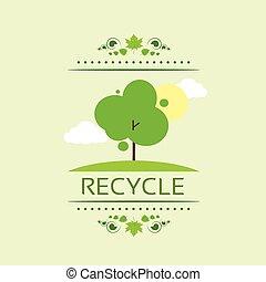 plat, eco, arbre, vecteur, vert, recycler, icône
