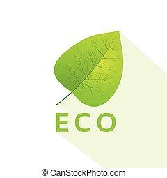 plat, eco, congé, vecteur, vert, icône