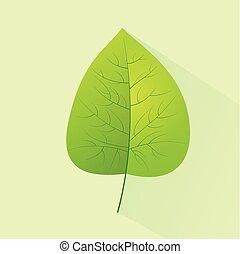 plat, eco, congé, vecteur, vert, logo, icône