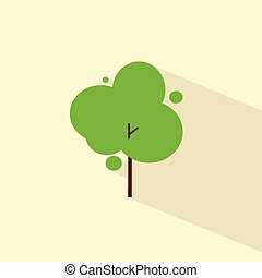 plat, eco, symbole, arbre, vecteur, vert, icône