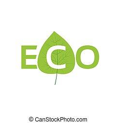 plat, eco, symbole, congé, vecteur, vert, icône