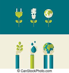 plat, ecologie, ontwerp, concepten
