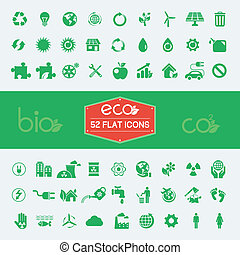 plat, ecologie, set, pictogram