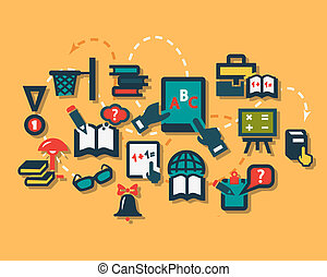 plat, education, icônes