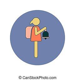 plat, eduquer cloche, dos, vecteur, conception, écolière, education