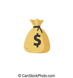 plat, eenvoudig, geld, vrijstaand, illustratie, zak, vector, moneybag, pictogram, spotprent