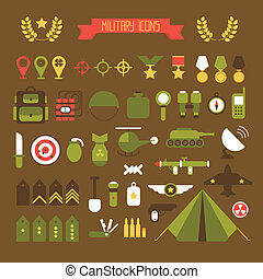 plat, elements., icônes, set., armée, illustration, guerre, infographic, conception, militaire, style.