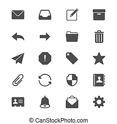 plat, email, iconen