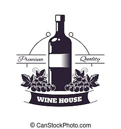 plat, emblème, club, isolé, illustration, arrière-plan., vecteur, monochrome, prime, vin blanc