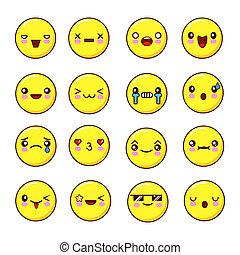 plat, emoticons, ensemble, emoji., illustration, smiles.