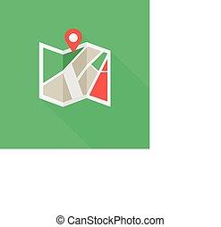 plat, emplacement, coloré, icône