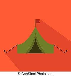 plat, en, spotprent, tentje, met, flag., jacht, season., vector, illustration.