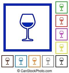 plat, encadré, verre vin, icônes
