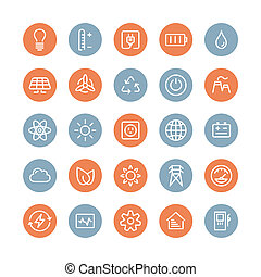 plat, energie, set, macht, iconen