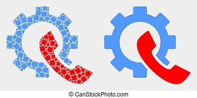 plat, engrenage, téléphone, vecteur, pixelated, récepteur, icône