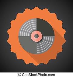 plat, enregistrement, vecteur, musique, vinyle, icône