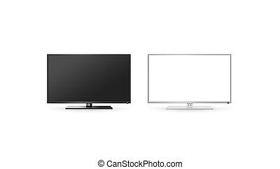 plat, ensemble, écran tv, haut, lcd, noir, blanc, isolé, ...